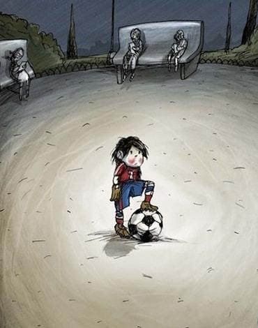 نقاشی سه بعدی توپ فوتبال روی کاغذ